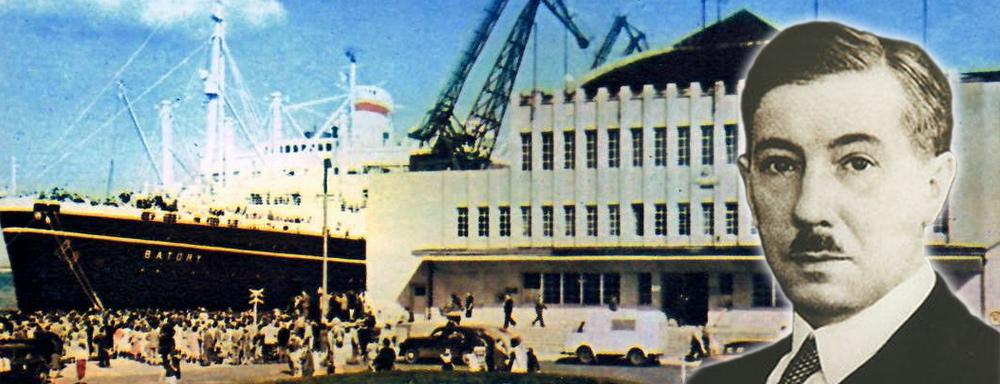 Eugeniusz Kwiatkowski. W tle port w Gdyni, nabrzeże Francuskie, lata 60-te.