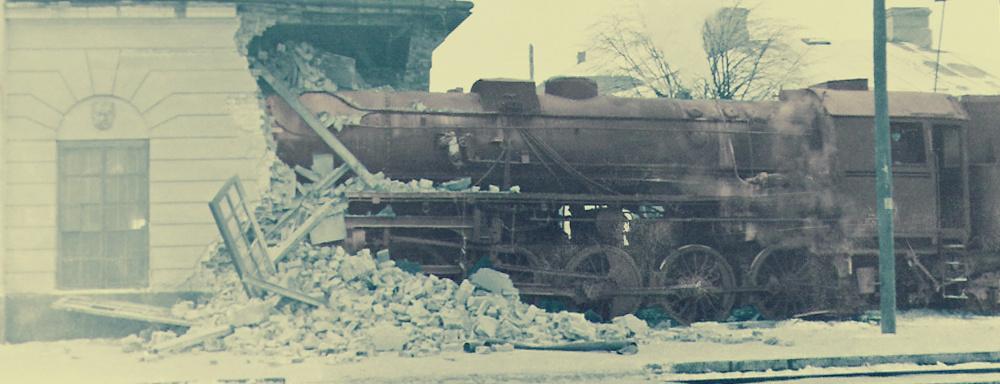 Wypadek na dworcu kolejowym w Łukowie - 1960 r.