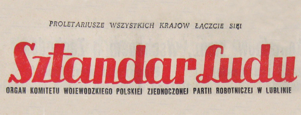 """Nagłówek Pisma """"Sztandar Ludu"""""""