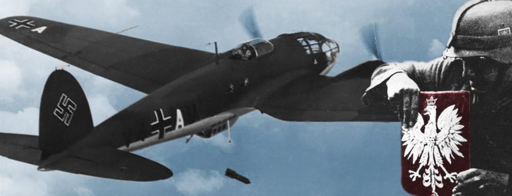 Niemiecki bombowiec He 111 nad terenem Polski w 1939 r.