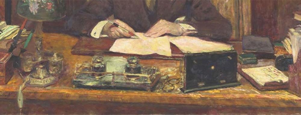 "Fragment obrazu ""Lucien Rosengart za biurkiem"" - 1930 r., autor: Edouard Vuillard"