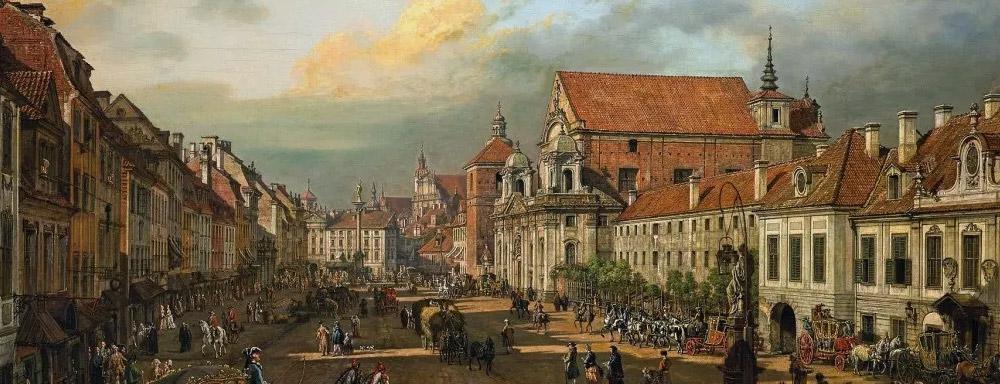 Warszawa. Krakowskie Przedmieście od strony Placu Zamkowego (1774) - obraz Bernarda Bellotta (Canaletta)