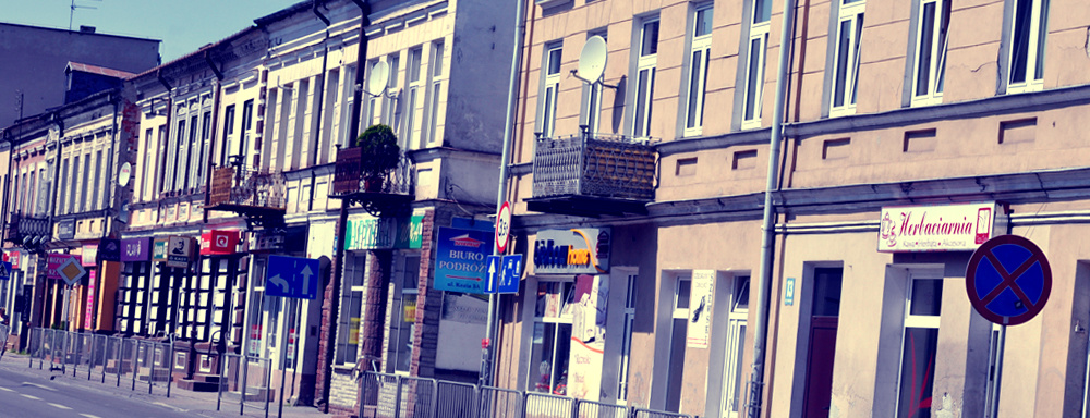 Kamienice przy głównej ulicy Łukowa.