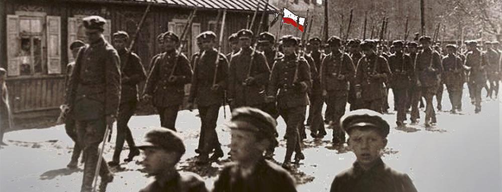 Przemarsz kompanii P.O.W. pod dowództwem Stanisława Zdanowskiego.