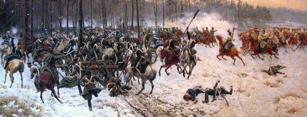 """""""Bitwa pod Stoczkiem."""" Obraz olejny. Autor: Jan Rosen (1854–1936)."""