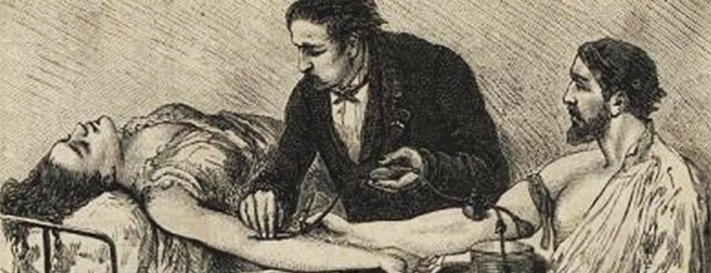 Transfuzja - rycina XIX w.