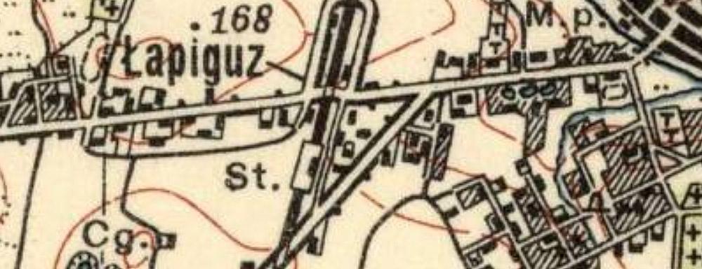 Fragment mapy z 1938 r. (wg. wzoru z 1931 r.) Wydawnictwo - Wojskowy Instytut Geograficzny
