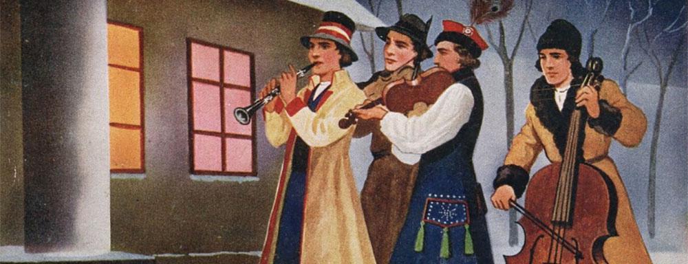 Karta pocztowa - Tradycje Świąteczne, zespół grajków (1938 r.), autorzy: W. Borowski, M. R. Polak
